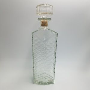 Vintage Chevron Glass Liquor Bottle With Stopper